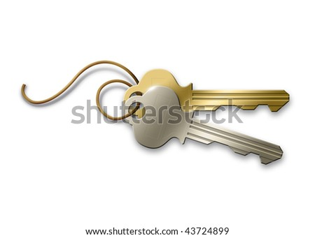 An illustration of a silver and a golden key. - stock photo