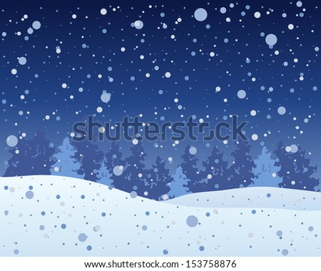 an illustration of a snowy christmas time landscape with fir trees and a dark winter sky and snowflake shower
