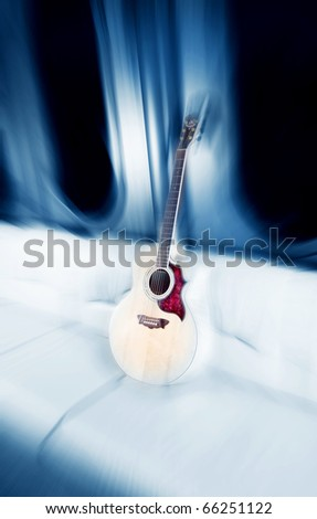 An illustration of a sofa with a guitar - stock photo