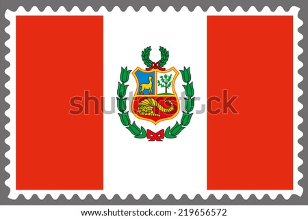 An Illustration of a Stamp with the Flag of Peru - stock photo