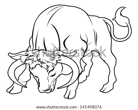 An illustration of a stylised black bull perhaps a bull tattoo - stock photo