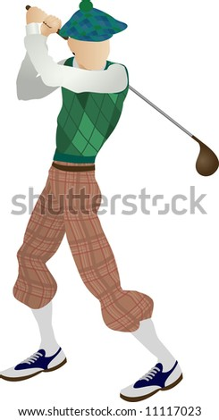 An illustration of a stylised classic golfer teeing off - stock photo