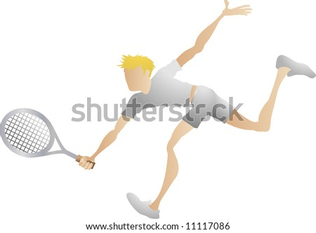 An illustration of a stylised tennis player lunging for a shot