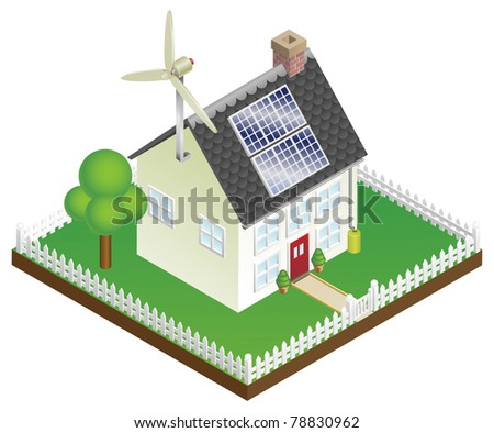 An illustration of a sustainable renewable energy house with solar panels and wind turbine - stock photo