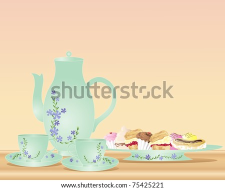 an illustration of a tea pot two cups and saucers with floral decoration and a plate of delicious cakes - stock photo