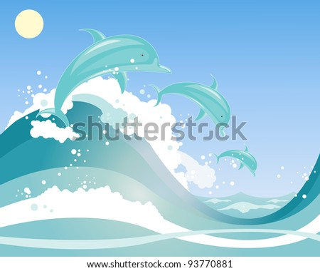 an illustration of a three beautiful dolphins playing in blue frothy waves under a blue sky - stock photo