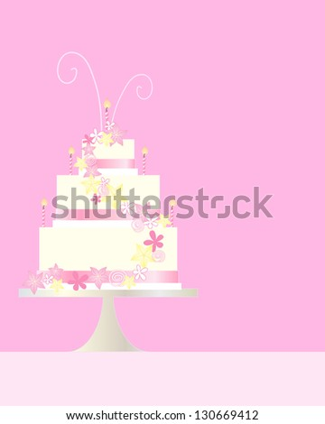 an illustration of a three tier birthday cake greeting card with flower and swirl decoration on a pink background with space for text