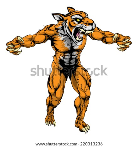 An illustration of a Tiger scary sports mascot with claws out - stock photo