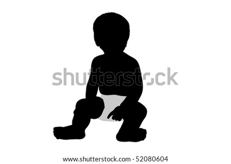 An illustration of a toddler isolated on a white background. - stock photo