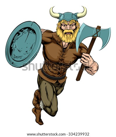 An illustration of a tough looking Viking Warrior mascot running with axe and shield - stock photo