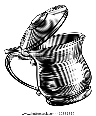 An illustration of a traditional beer stein or tankard in a woodcut style - stock photo