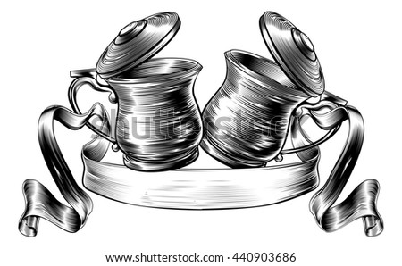 An illustration of a traditional beer stein or tankards chinking together in a prost toast with banner or scroll in a woodcut style - stock photo