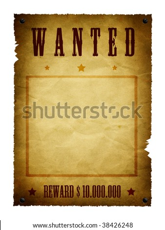 an illustration of a wanted retro poster - stock photo