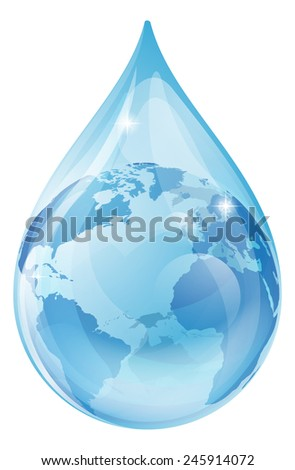 An illustration of a water drop with a globe inside. Water drop earth globe environmental concept - stock photo