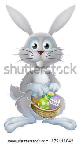 An illustration of a white Easter bunny rabbit holding a basket of decorated painted chocolate Easter eggs - stock photo