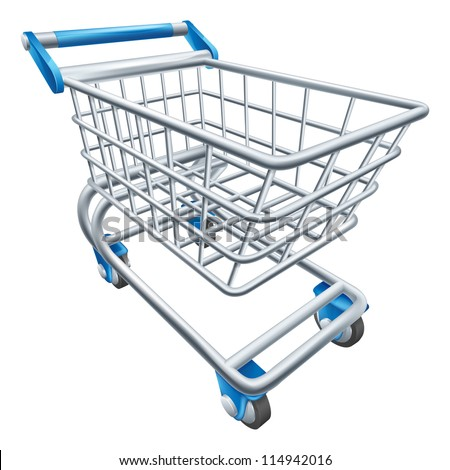 An illustration of a wire supermarket shopping cart trolley or basket - stock photo
