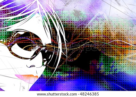 An illustration of a woman's face over a multicolored background with grunge effects. - stock photo
