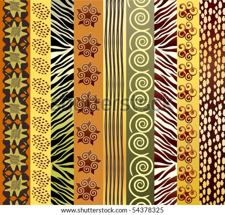 An illustration of African fabric in earth tones - stock photo