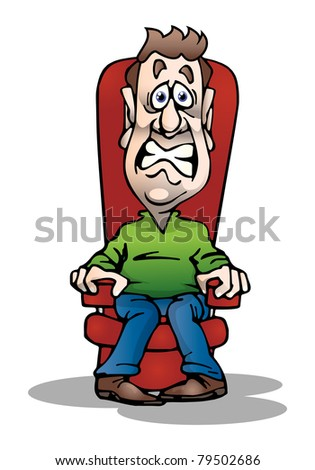 an illustration of an adult afraid businessman sit on couch on isolated  white background - stock photo