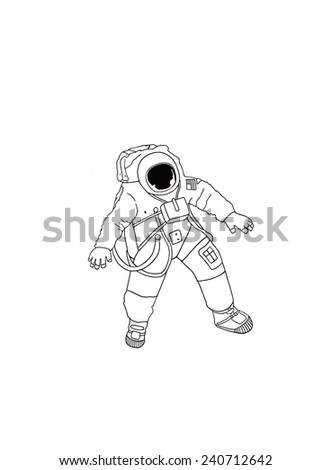 An illustration of an astronaut wearing a space suit. - stock photo