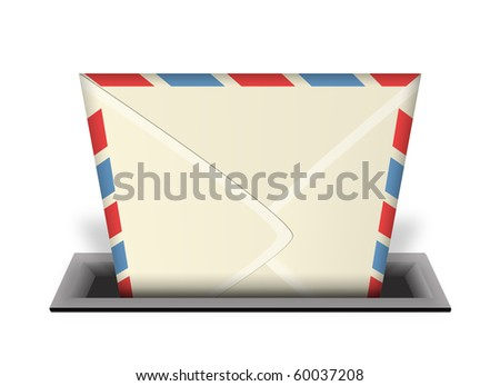 An illustration of an envelope or email being delivered into a mail slot or in-box with a 3d perspective - stock photo