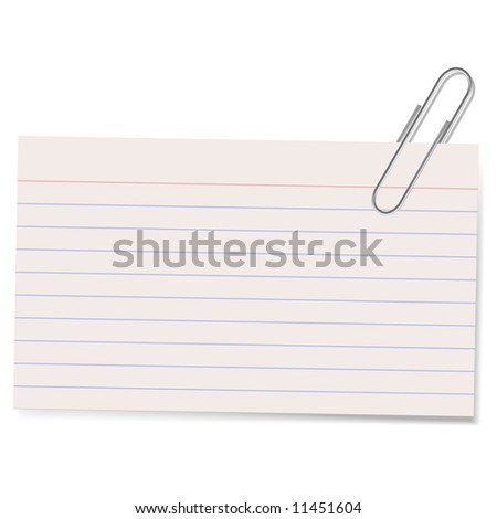 An illustration of an index card held by a paper clip casting a soft shadow. Good blank stationary element. - stock photo