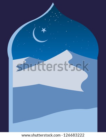 an illustration of an islamic archway with a view across a night time desert with sand dunes stars and crescent moon in shades of blue