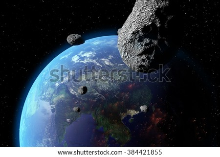 An illustration of asteroids approaching Earth. Earth land and clouds texture maps courtesy of NASA