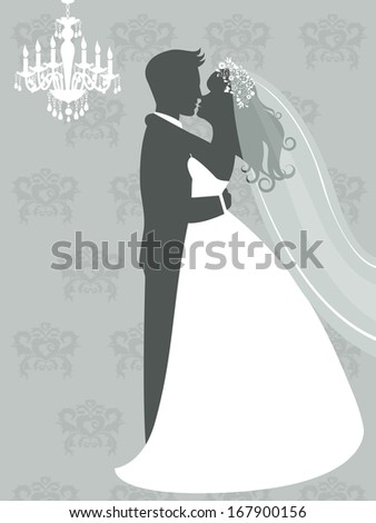 An illustration of bride and groom kissing - stock photo