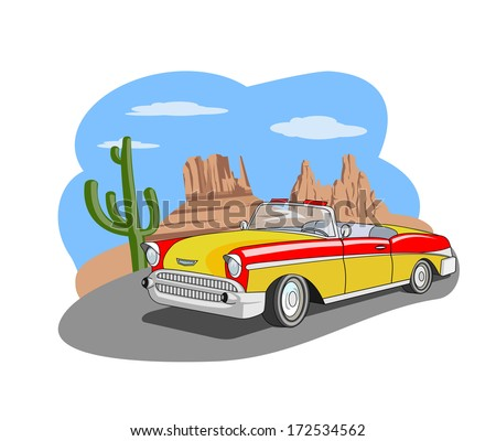 An illustration of classic car in the desert