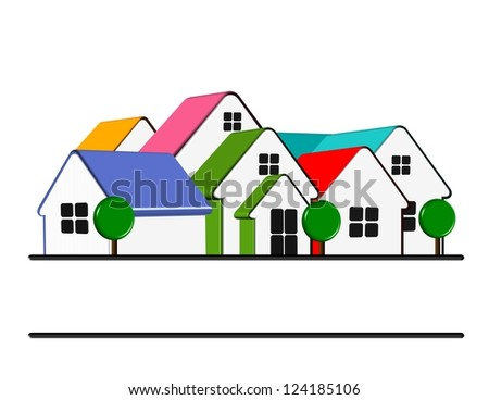 An illustration of colorful home icon with copy space - stock photo