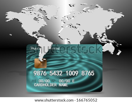 An illustration of credit card and map of the world / Credit card shopping - stock photo