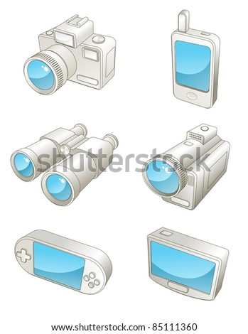 An illustration of different  travel electronic gadgets - stock photo