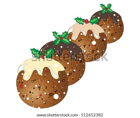 an illustration of four festive christmas puddings with holly decoration on a snowy white background
