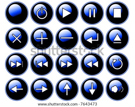 An illustration of glossy blue buttons isolated on a white background. These are buttons that might be found on a remote or cd/dvd player. - stock photo