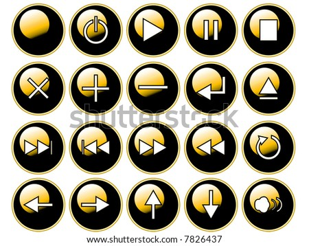 An illustration of glossy yellow buttons isolated on a white background. These are buttons that might be found on a remote or cd/dvd player. - stock photo