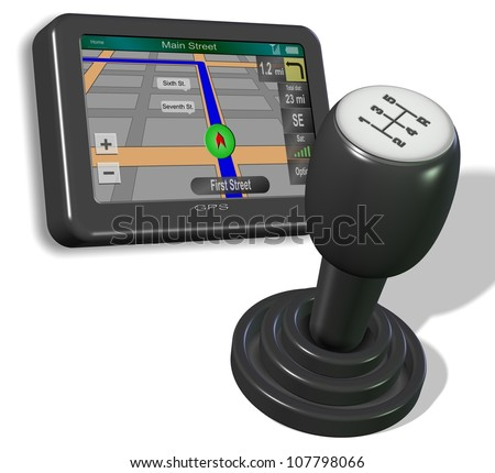 An illustration of GPS and gear shift on the white background / GPS and gear shift knob - stock photo