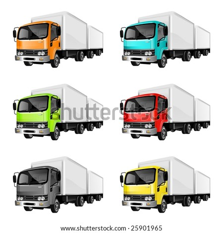 An Illustration of heavy cargo trucks in different colors on white background - stock photo