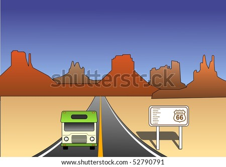 An illustration of Historic route 66 in the desert landscape