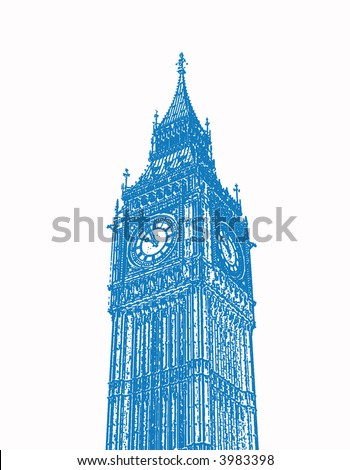 An illustration of London's Big Ben. - stock photo