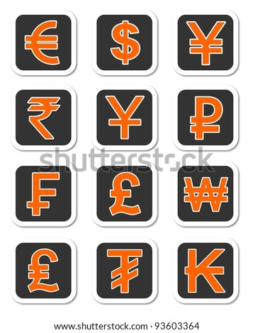 Illustration Major Currency Symbols Different Countries Stock