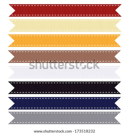 An Illustration of Nautical Themed Grosgrain Ribbon, Also see other ribbon sets. - stock photo