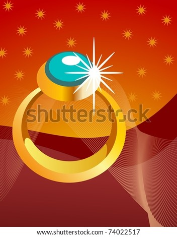 An illustration of shiny golden ring against red background - stock photo
