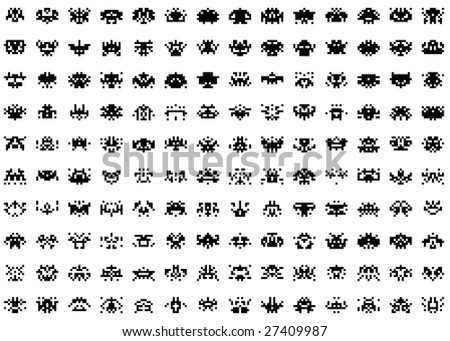 An illustration of simple game set ufos - stock photo