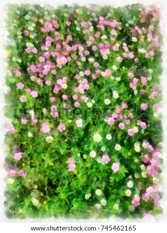 Illustration small pink white flowers on stock illustration an illustration of small pink and white flowers on grean leaves background mightylinksfo