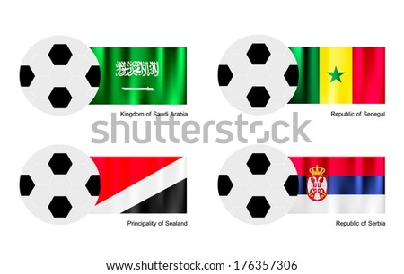 An Illustration of Soccer Balls or Footballs with Flags of Saudi Arabia, Senegal, Principality of Sealand and Serbia on Isolated on A White Background.  - stock photo