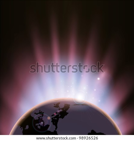 An illustration of the earth eclipsing the sun as it rises over it - stock photo