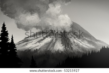 an illustration of the 1980 eruption of Mt. St. Helens - stock photo