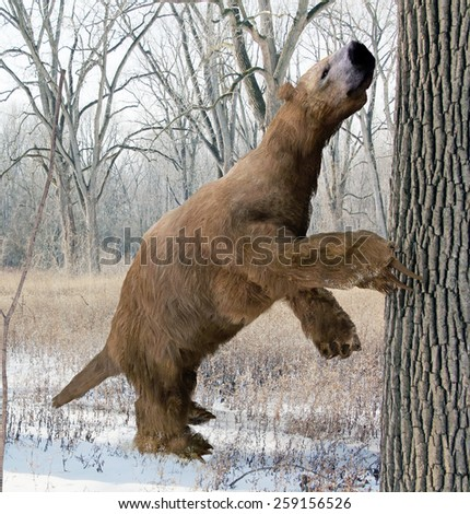 An illustration of the extinct giant ground sloth Megalonyx searching a tree for food in an Ice Age Ohio forest. Megalonyx jeffersonii was a large, heavily built animal about 9.8 feet (3 m) long. - stock photo