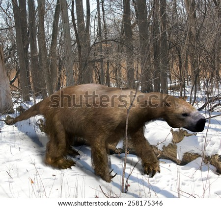 An illustration of the extinct giant ground sloth Megalonyx slowing making his way through an Ice Age Ohio forest. Megalonyx jeffersonii was a large, heavily built animal (10 ft ) of the Pleistocene. - stock photo